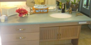 Accessible bathroom counters & cabinets