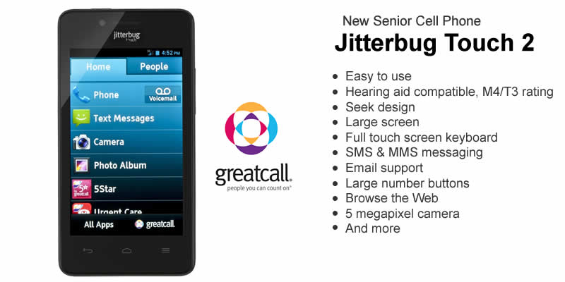 Jitterbug smartphone for seniors